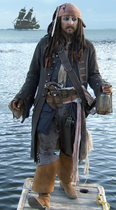 Jack Sparrow impersonator entertainer for hire in LA, California