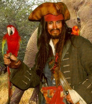 captain parrot jack for hire for pirate party