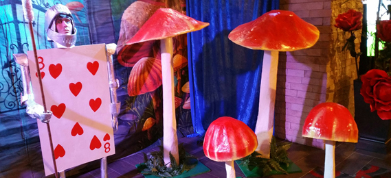 Giant Mushrooms for rent and other Alice in Wonderland theme decoration and pirate props