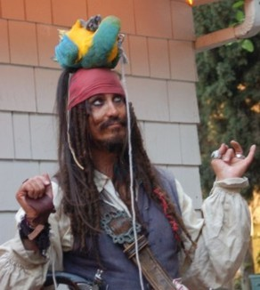 parrot show with Captain Parrot Jack a satirical parody of a Caribbean pirate