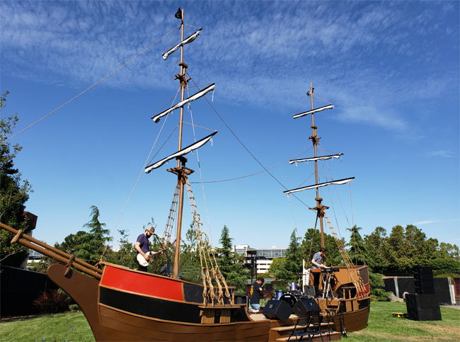 pirate ship stage for company picnic or outdoor event