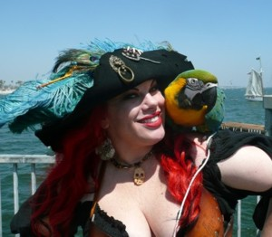 lady pirate with parrot Scarlet Harlot